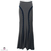 Striped Panel Maxi Skirt
