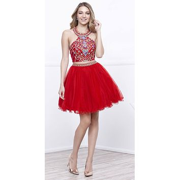 Red Two-Piece Halter Homecoming Dress Beaded Crop Top