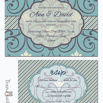 Art Deco Wedding Invitation Printable, Bridal Shower, Birthday Invitation, RSVP, Digital File - Vintage