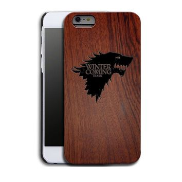 Game of Thrones House Stark Luxury Carved Wood Hard Wooden Protector Back Case Cover for Apple iPhone 5s/SE/6/6plus&Samsung Gala