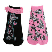 Too Fast Day Of The Dead Cat Ankle Socks 2 Pair