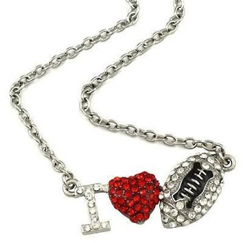 "*Silvertone Bling ""I Heart Football"" Necklace- Silvertone"