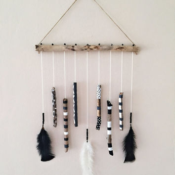 Driftwood Mobile Hanging/Blacku0026White Decor/Boho Mobile/African Mobile/Hand  Painted Driftwood