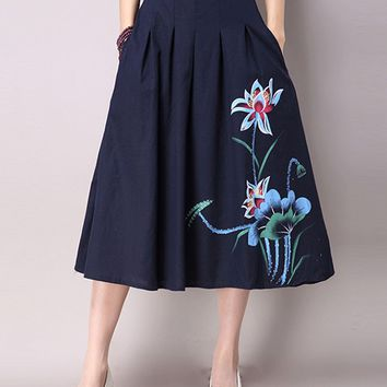 Streetstyle  Casual Elastic Waist Pocket Printed Flared Maxi Skirt