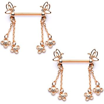 """9/16"""" Clear Gem Rose Gold Tone Butterfly Dangle Barbell Nipple Ring Set"""