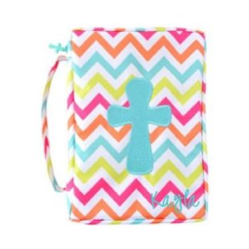 Mainstreet Colorful Mint, Pink, Orange Chevron Bible Cover Case with Embroidered Cross and Cross Zipper Pull Detail