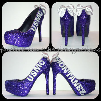 USMC Purple Glitter High Heels