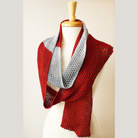 Fall Fashion - Color Block Knit Scarf in 100% Silk - Infinity Scarf