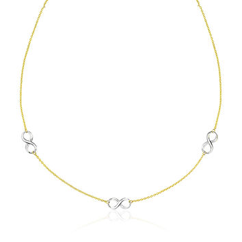 Infinity Design Section Necklace in 14k Yellow & White Gold
