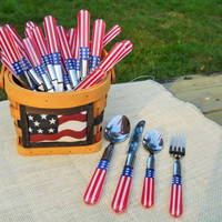 Vintage Fourth of July Silverware and Basket