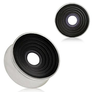 316L Surgical Steel Saddle Plug with Black Ring Grooved Inlay