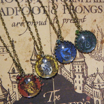 Harry Potter Hogwarts House Crest Cameo Necklaces (4 to choose from)