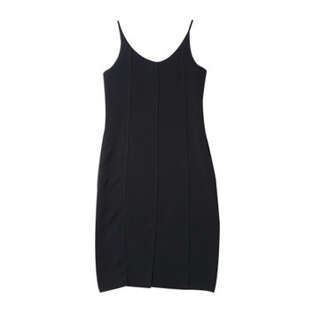 Slim Strapped Pintuck Dress (Black) | STYLENANDA