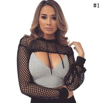 ( Only Smock) New Fashion Look Mesh Fishnet Cropped Top Hollow Blouse Sexy Clubwear