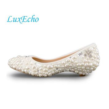 Handmade ivory pearl wedding shoes low-heeled and high heels shoes white dress bridal shoes maternity wedding shoes ppumps women