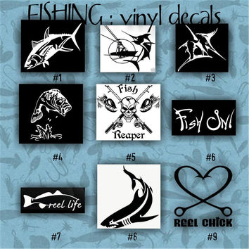 FISHING vinyl decals - 1-9 - car decal - vinyl sticker - laptop decal - stickers - fish - fishing boat - fisherman - custom vinyl decal