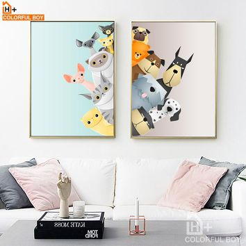 COLORFULBOY Dog And Cat Nordic Posters And Prints Canvas Painting Cartoon Animals - No Frame
