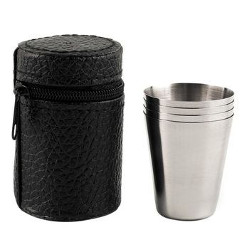 1 Set of 4 Stainless Steel Camping Cup Mug Drinking  With Case for outdoor/indoor