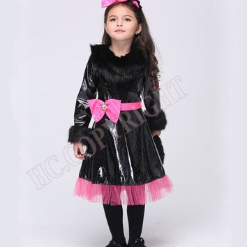 Halloween Christmas Costumes cosplay Cute Kids Girls cat Kitty princess catwoman style dress Children costume sets with headwear