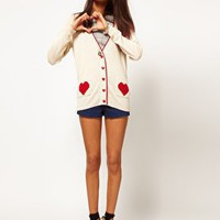 ASOS PETITE Exclusive Cardigan With Heart Pockets at asos.com
