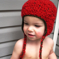 CHRISTMAS SALE Crochet Strawberry earflap beanie hat size infant to toddler, ready to ship.