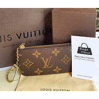 Louis Vuitton LV Classic Household Zipper Key Pouch Clutch Bag Coin Purse Wristlet I