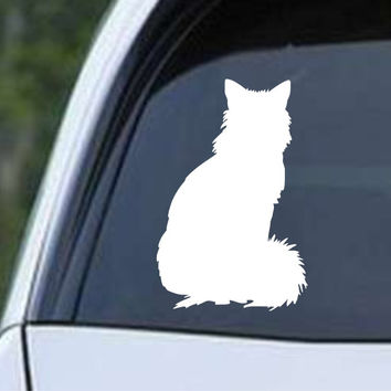 Fluffy Cat Silhouette Die Cut Vinyl Decal Sticker