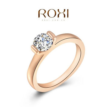 Austrian Crystal 24K Rose Gold Filled Full Size Zircon Ring Wedding Bride Jewelry