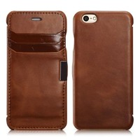 iPhone 6s / 6 Case, Benuo [Card Slot Vintage Series] [Genuine Leather] Folio Flip Corrected Grain Leather Case [2 Card Slots] with Magnetic Closure for iPhone 6s / 6 4.7 inch (Brown)
