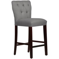 Skyline Furniture Violeta Tufted Hourglass Barstool in Linen Grey