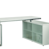 """White Hollow-Core """"L"""" Shaped Desk With Frosted Glass"""