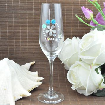 Sets of 2, Personalized/Customized, Crystal Wedding Toasting Glass