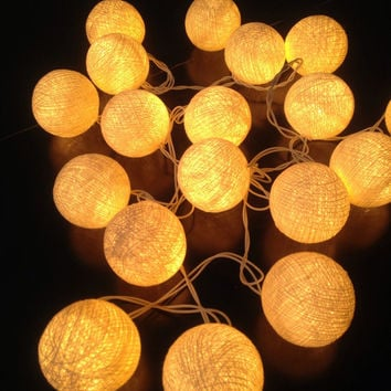 Cotton ball lights for home decor,party decor,wedding patio,35 pieces of indoor string lights bedroom fairy lights cream tone