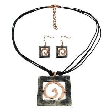 Golden Spiral Pewter Necklace & Earrings in Copper and Antique Silver Hues by Anju
