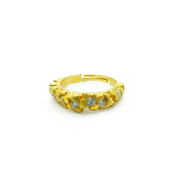 Zircons in Crusted Silver, Gold-plated Ring