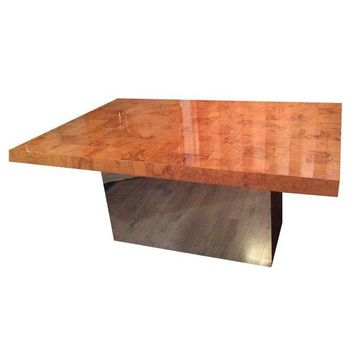 Pre-owned Milo Baughman Burl Patchwork & Chrome Dining Table