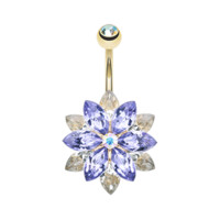 Golden Marquis Lotus Belly Button Ring Navel Ring Body Jewelry 316L Surgical Stainless Steel