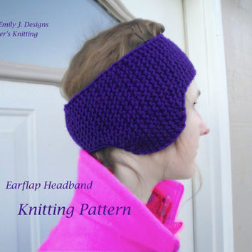 Earflap Headband Knitting Pattern, Ear Flap Earwarmer, Chunky Weight, Kids Adults, Quick Easy Knit