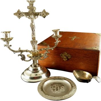 Antique Oak Sick Call Box with Crucifix Candelabra