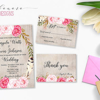 Pink Peonies Floral Wedding Invitation Printable Wedding Suite Boho Digital Invitation Flowers Bohemian Bridal Wedding Invite Set - WI016