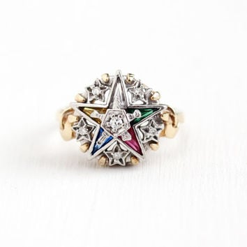 Vintage 10K Yellow & White Gold Order of the Eastern Star Diamond Cluster Ring - Size 7 1/4 OES Masonic Created Ruby Sapphire Fine Jewelry