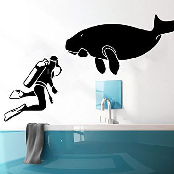 Wall decal scuba diver diving nautical from amazon bathroom for Diving and fishing mural