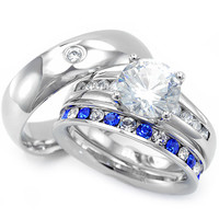 Arissa's His & Hers Matching Set CZ Stainless Steel Wedding Ring Set