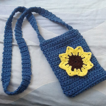 Sunflower Bag, Small Flower Bag, Crocheted Bag, Bag with Long Straps, Yarn Bag, Drawstring Bag, Sunflower Purse, Purse with Flowers
