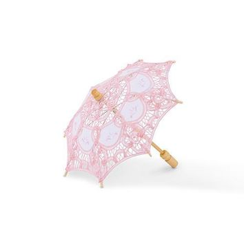 Vintage Pink Battenburg Lace Parasol - Small (Pack of 1)