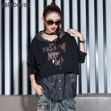 New Arrivals Autumn Punk Rave Retro Vintage Word Printing Loose Shirts Patchwork Fashion Denim Hip Hop Tops  for woman A81z20