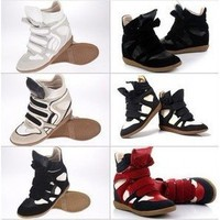Womens Leather Lace UP High Top Hidden Wedge heels Sneaker Shoes Lady Ankle boot