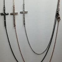 Goldtone, Sideways Cross with BLING necklaces