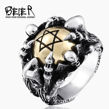 BEIER 2017 New Hot Drop Ship Man's Stainless Steel Copper Hexagram Ring, Fashion Men's Exclusive Sale Punk Ring BR8-285