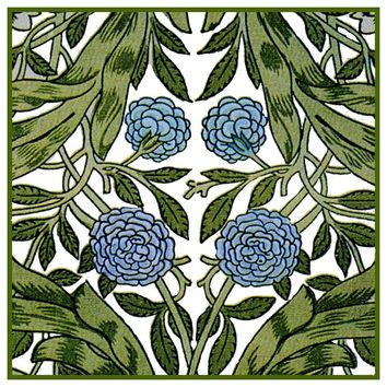 William Morris African Marigold Flower detail Design Counted Cross Stitch or Counted Needlepoint Pattern